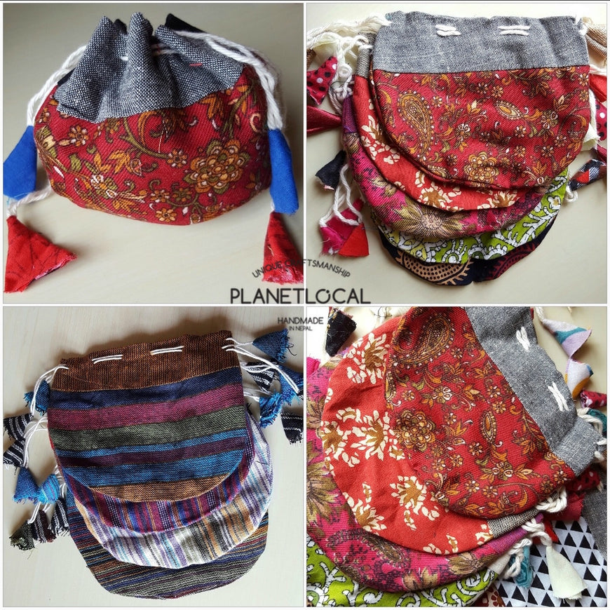 Pure Handmade Ethnic clutch bag made with cotton fabric and Leather handbag - PLANETLOCAL (5)