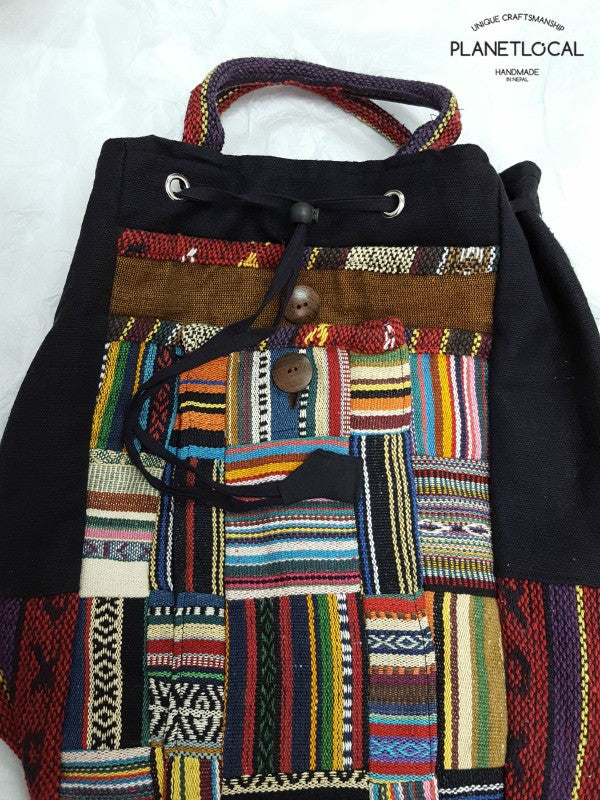 JILIMILI-5 Handmade tribal patterned organic cotton backpack