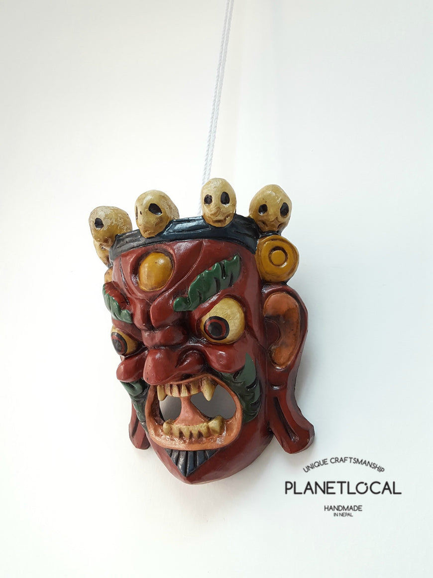 Unique Red Edition Handmade Wooden Bhairab Mahakala Mask - PLANETLOCAL (2)