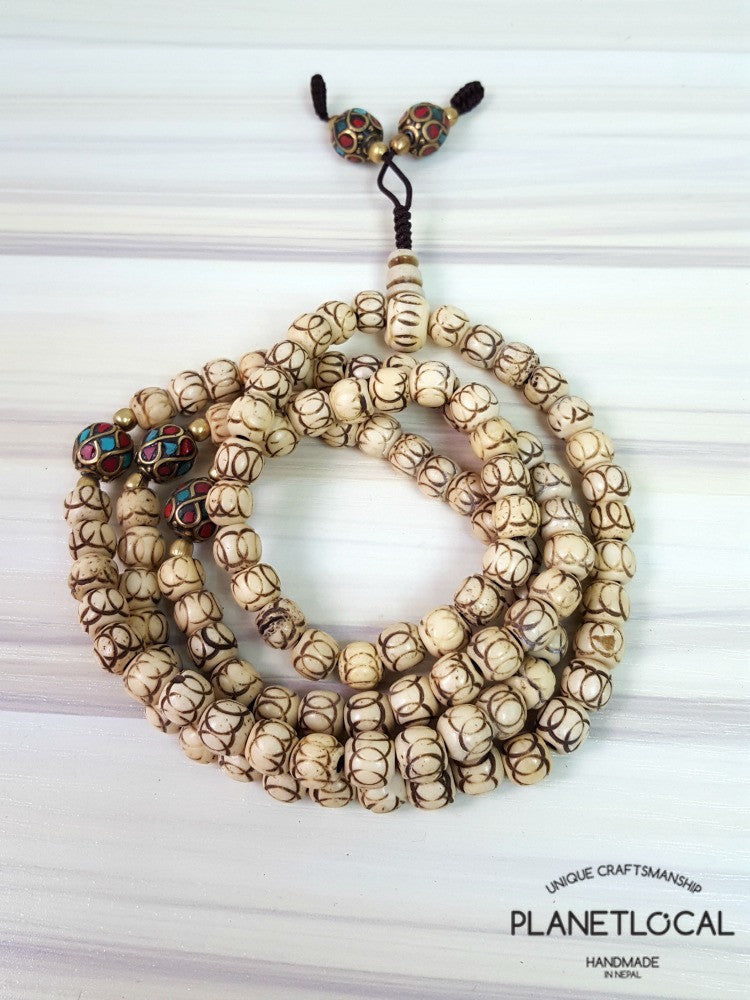 108 buddhist bone prayer mala bead (approx 7mm) (3)