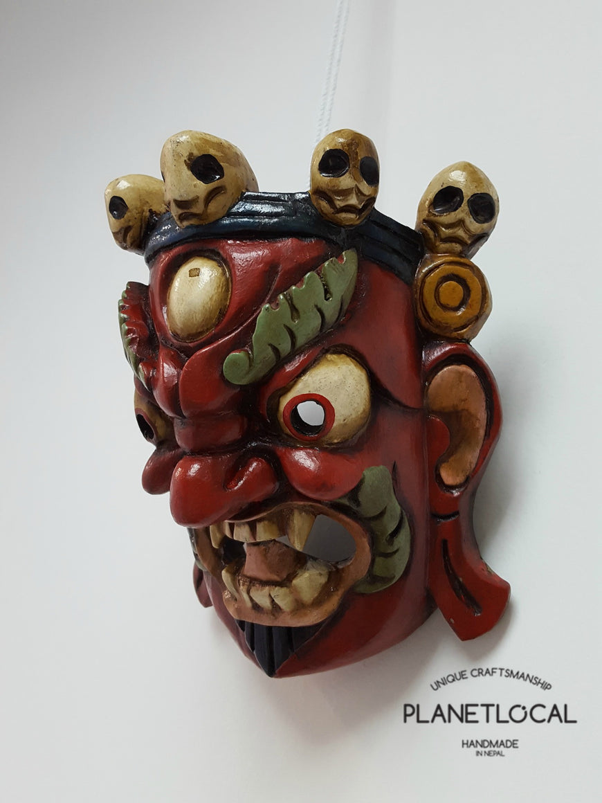 Unique Red Edition Handmade Wooden Bhairab Mahakala Mask - PLANETLOCAL (4)