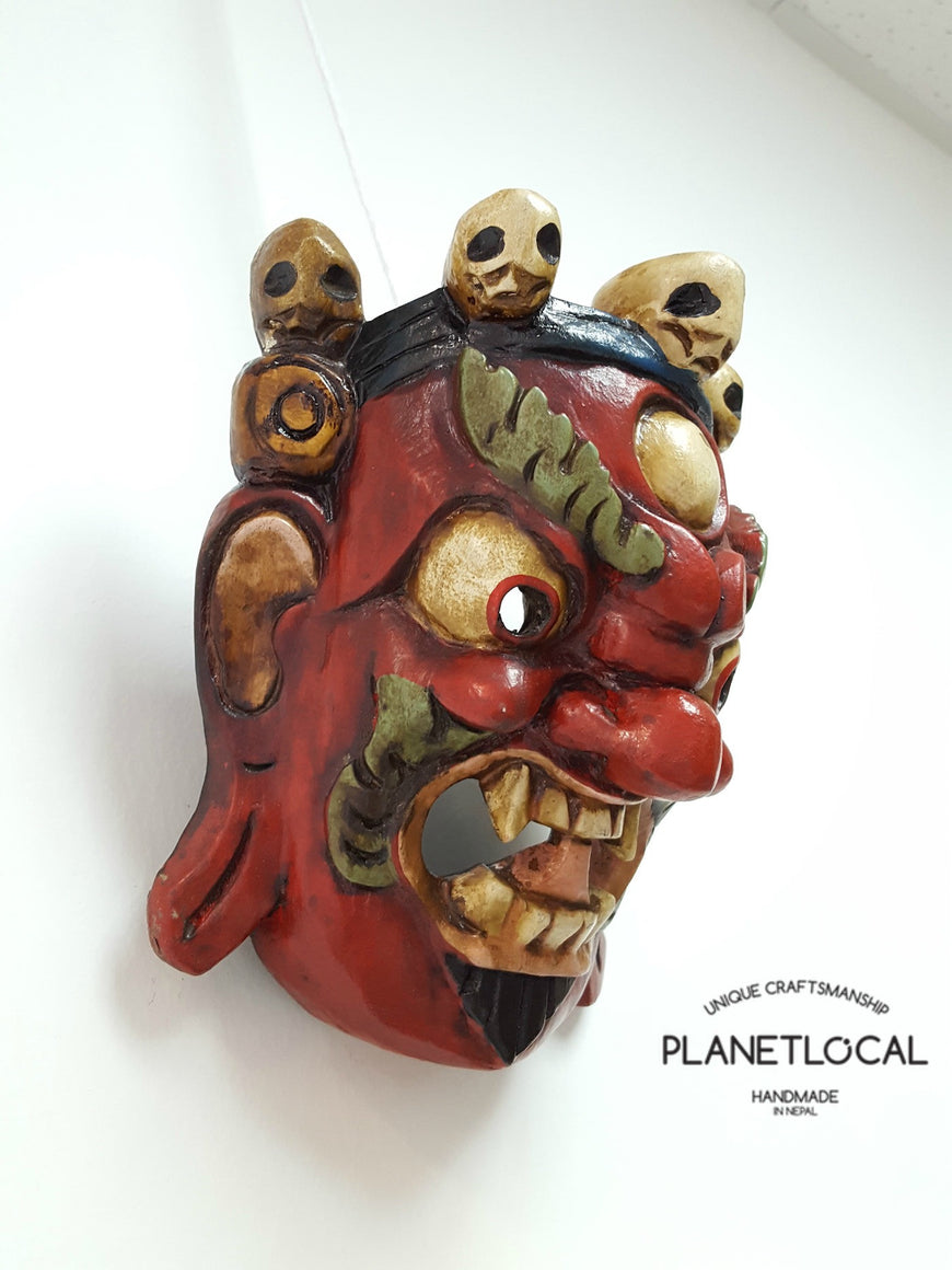 Unique Red Edition Handmade Wooden Bhairab Mahakala Mask - PLANETLOCAL (5)