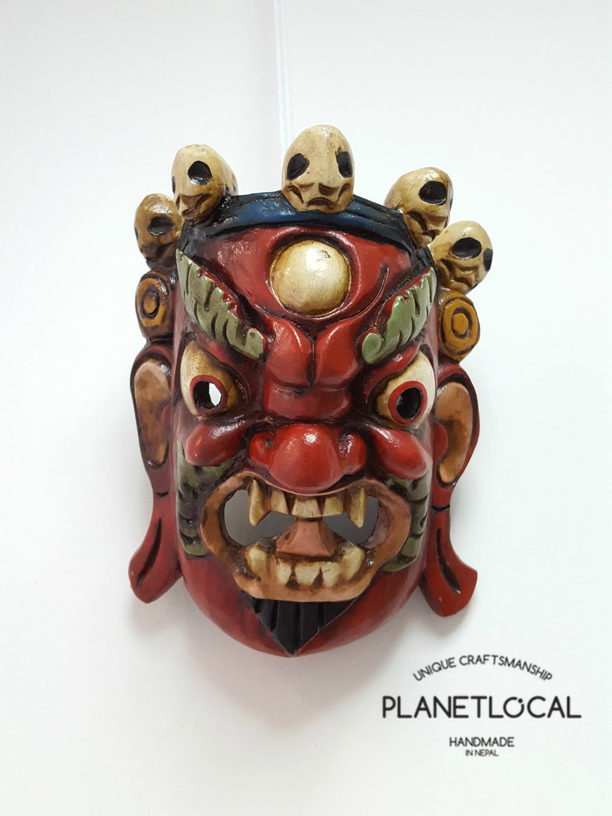 Unique Red Edition Handmade Wooden Bhairab Mahakala Mask - PLANETLOCAL (3)