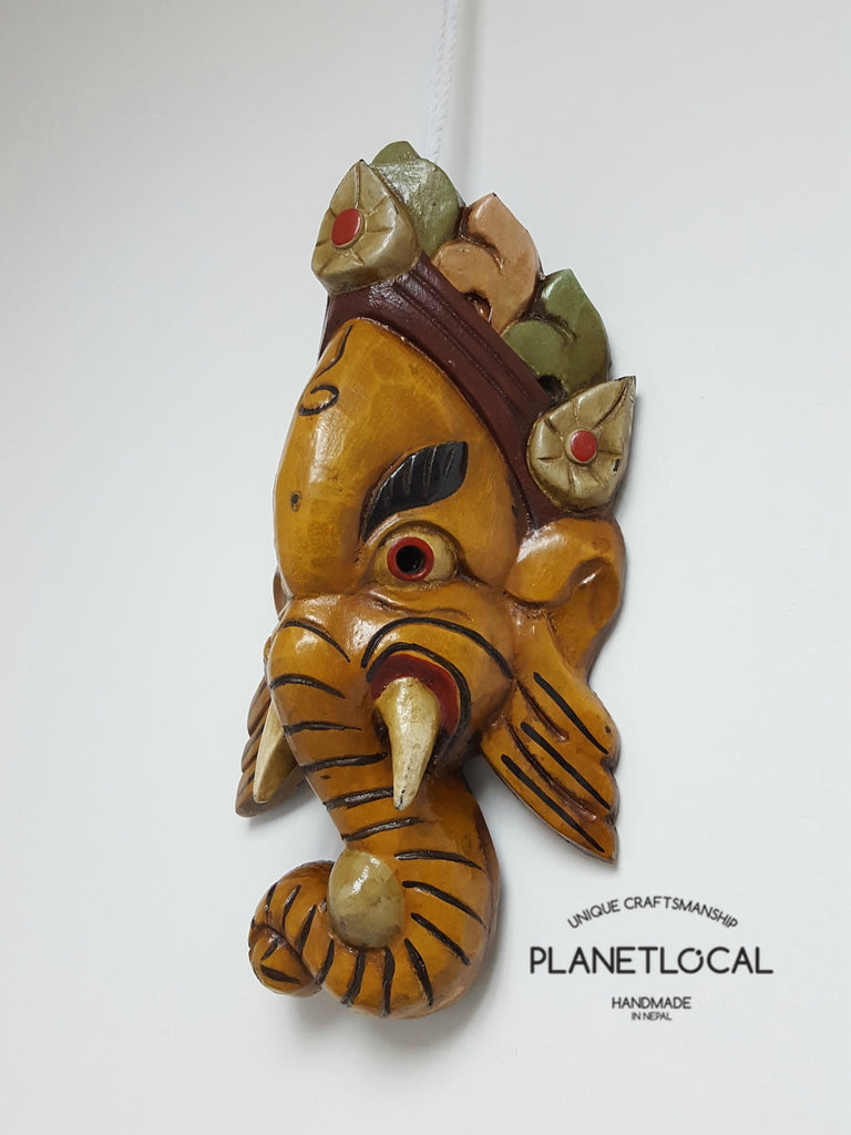 Yellow Edition Handmade Wooden Ganesh Mask