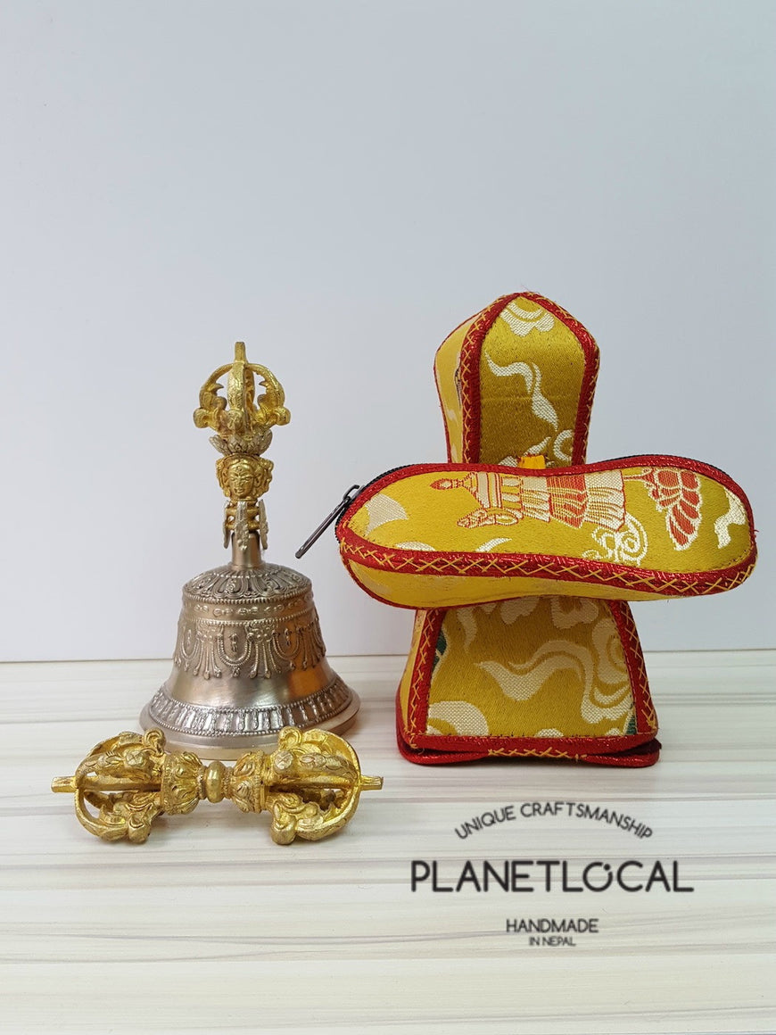 Large finest quality 5 prong buddhist meditation bell and dorje Set with brocade fabric (5)
