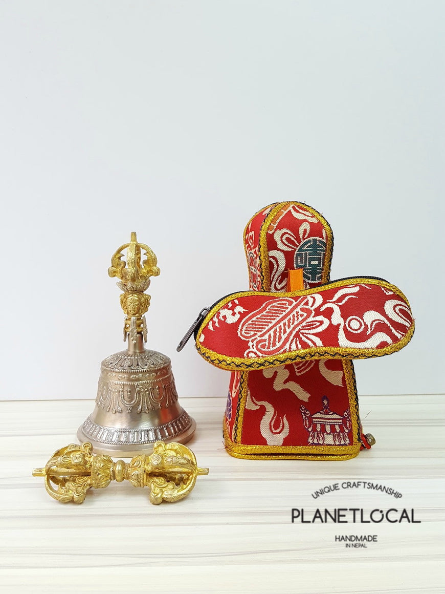 Large finest quality 5 prong buddhist meditation bell and dorje Set with brocade fabric (1)