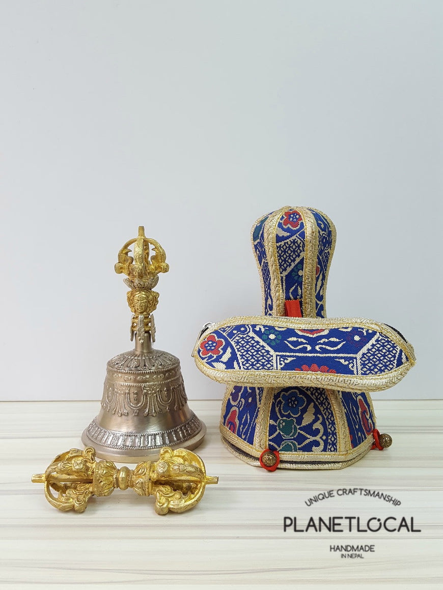 Large finest quality 5 prong buddhist meditation bell and dorje Set with brocade fabric (2)