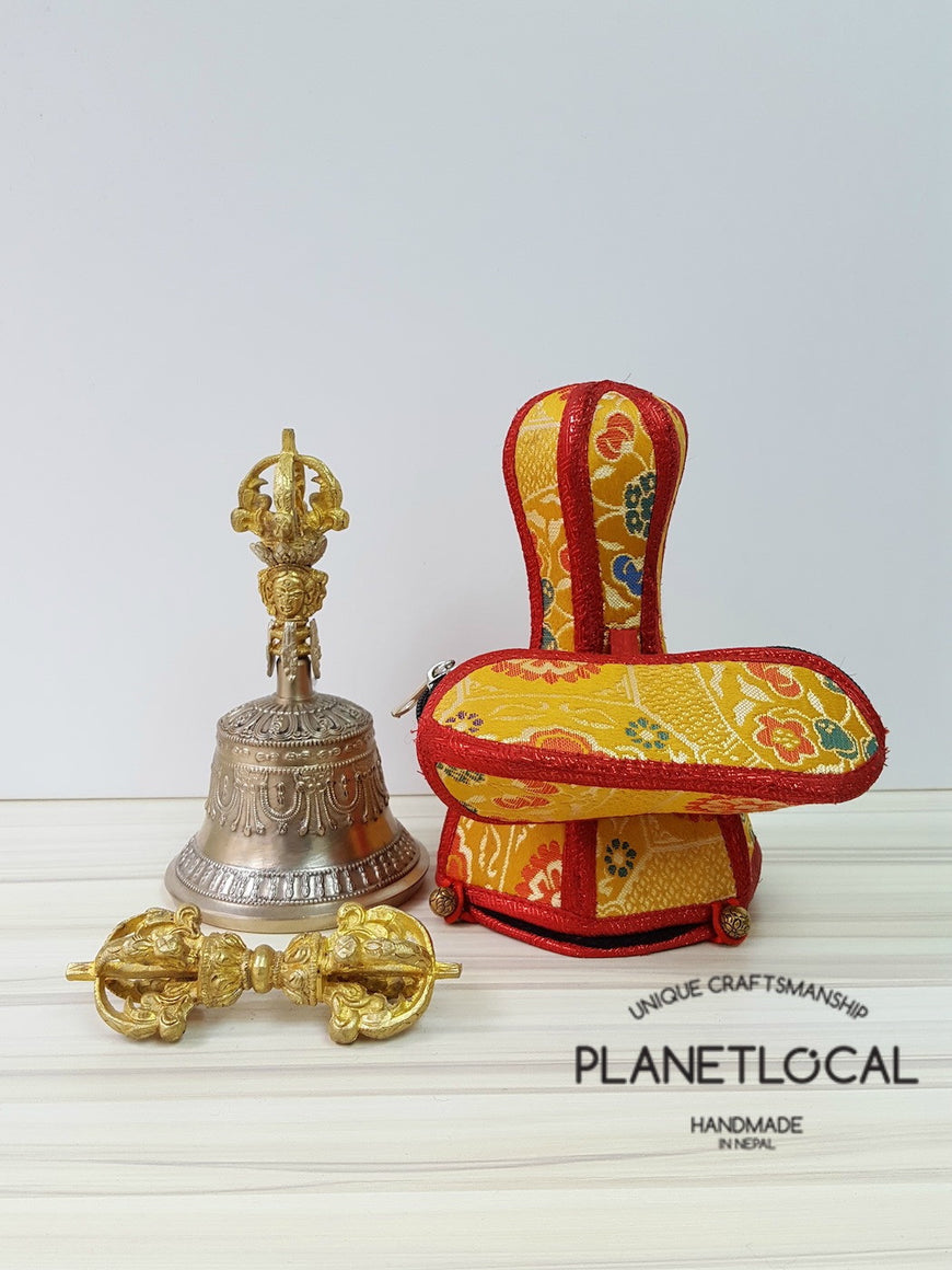 Large finest quality 5 prong buddhist meditation bell and dorje Set with brocade fabric (3)