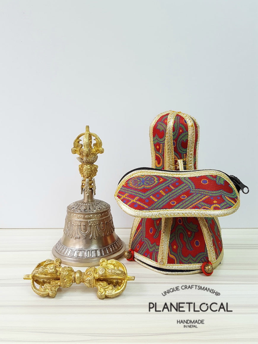 Large finest quality 5 prong buddhist meditation bell and dorje Set with brocade fabric (4)