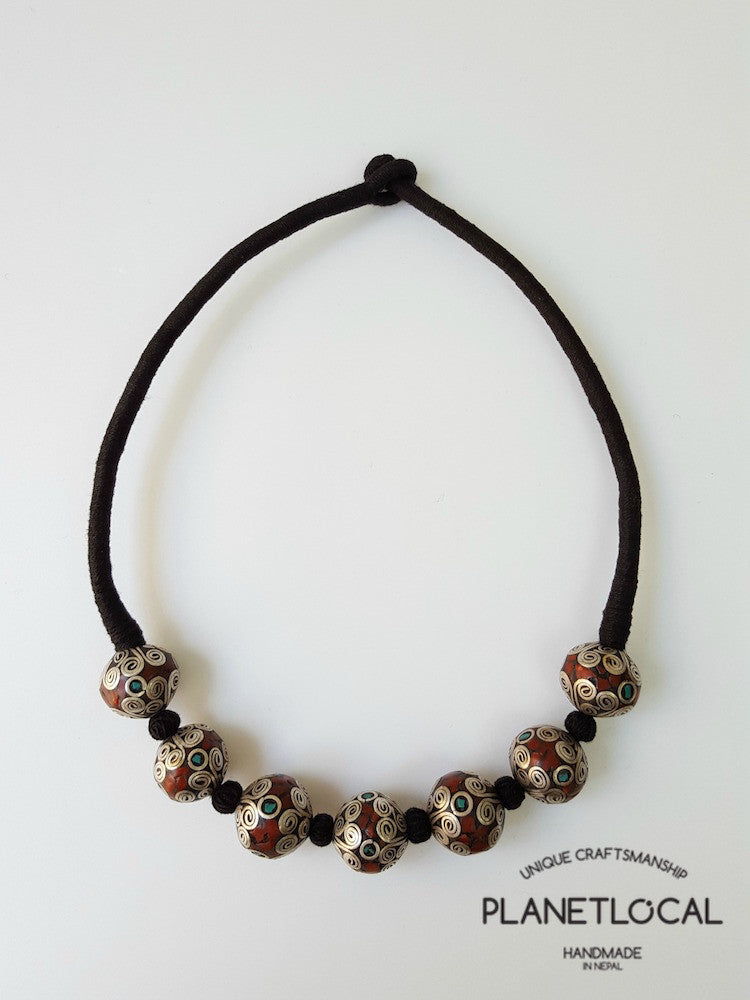 MARS BEADS- Hand wrapped pure cotton thread necklace - PLANETLOCAL (1)