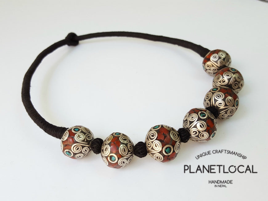 MARS BEADS- Hand wrapped pure cotton thread necklace - PLANETLOCAL (2)