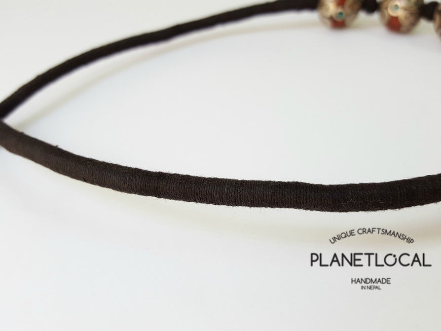 MARS BEADS- Hand wrapped pure cotton thread necklace - PLANETLOCAL (3)