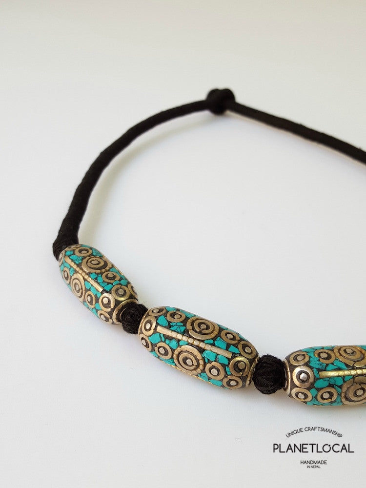 ETHNIC BEADS- Hand wrapped pure cotton thread necklace - PLANETLOCAL (2)