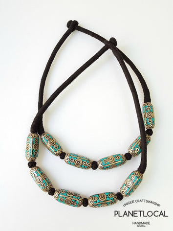 ETHNIC BEADS- Hand wrapped pure cotton thread necklace - PLANETLOCAL