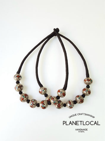 MARS BEADS- Hand wrapped pure cotton thread necklace - PLANETLOCAL