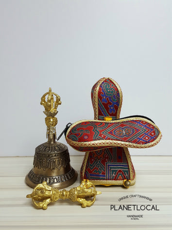 Medium finest quality 5 prong buddhist meditation bell and dorje set with brocade fabric cover - PLANETLOCAL