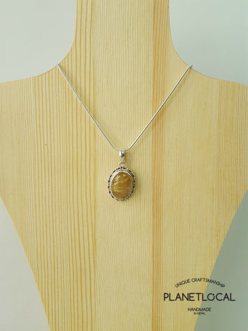 Oval Gold rutilated quartz / Turquoise - Handmade 925 Sterling Silver Pendant - PLANETLOCAL