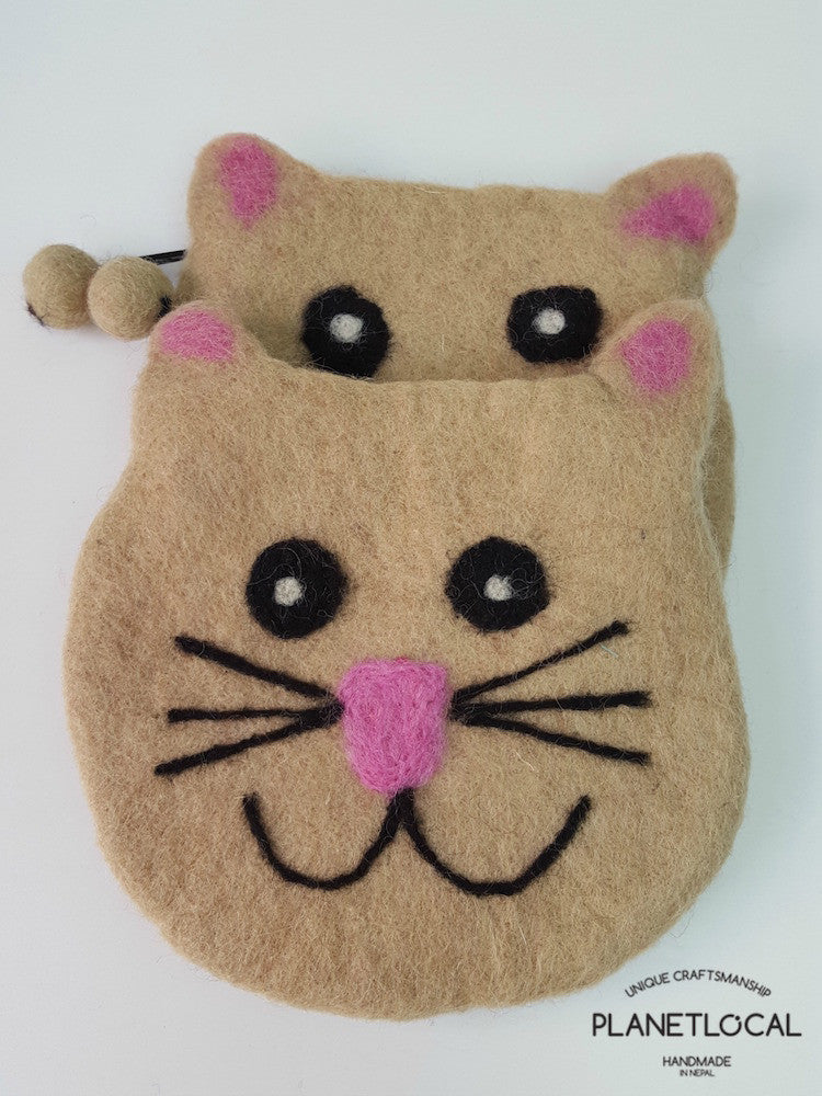 KATIE- Soft Felt Small Money Bag - PLANETLOCAL