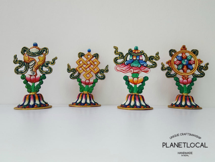 Handpainted Pure Copper 8 Auspicious Symbol Stand - PLANETLOCAL (1)