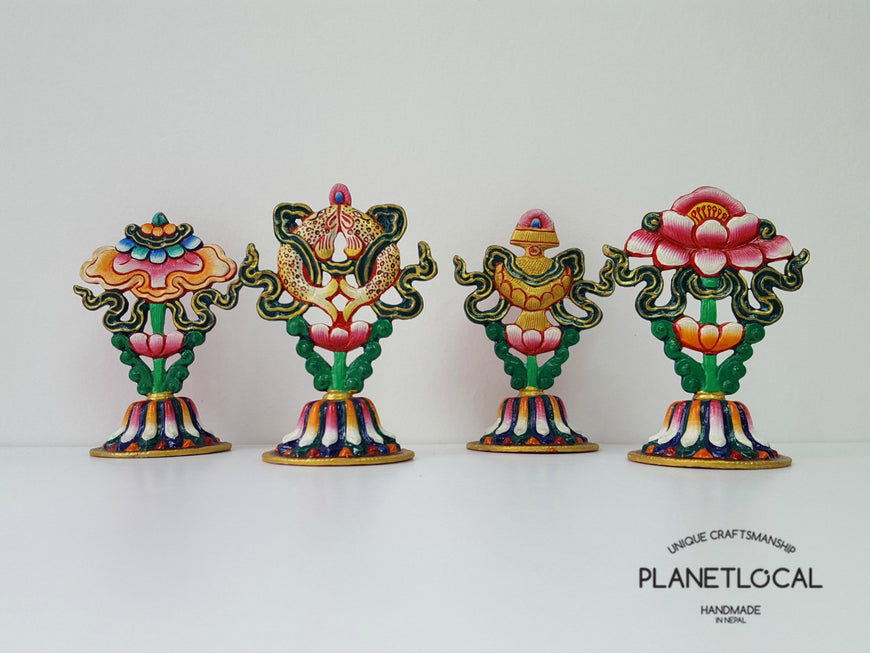 Handpainted Pure Copper 8 Auspicious Symbol Stand - PLANETLOCAL