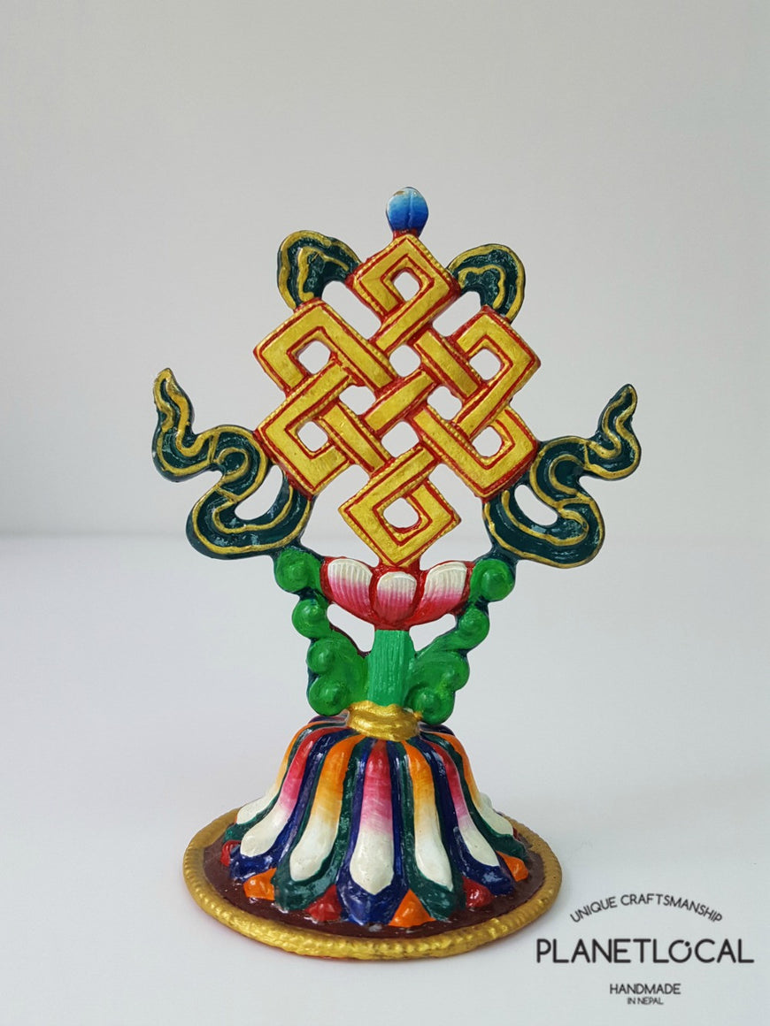 Handpainted Pure Copper 8 Auspicious Symbol Stand - PLANETLOCAL (8)