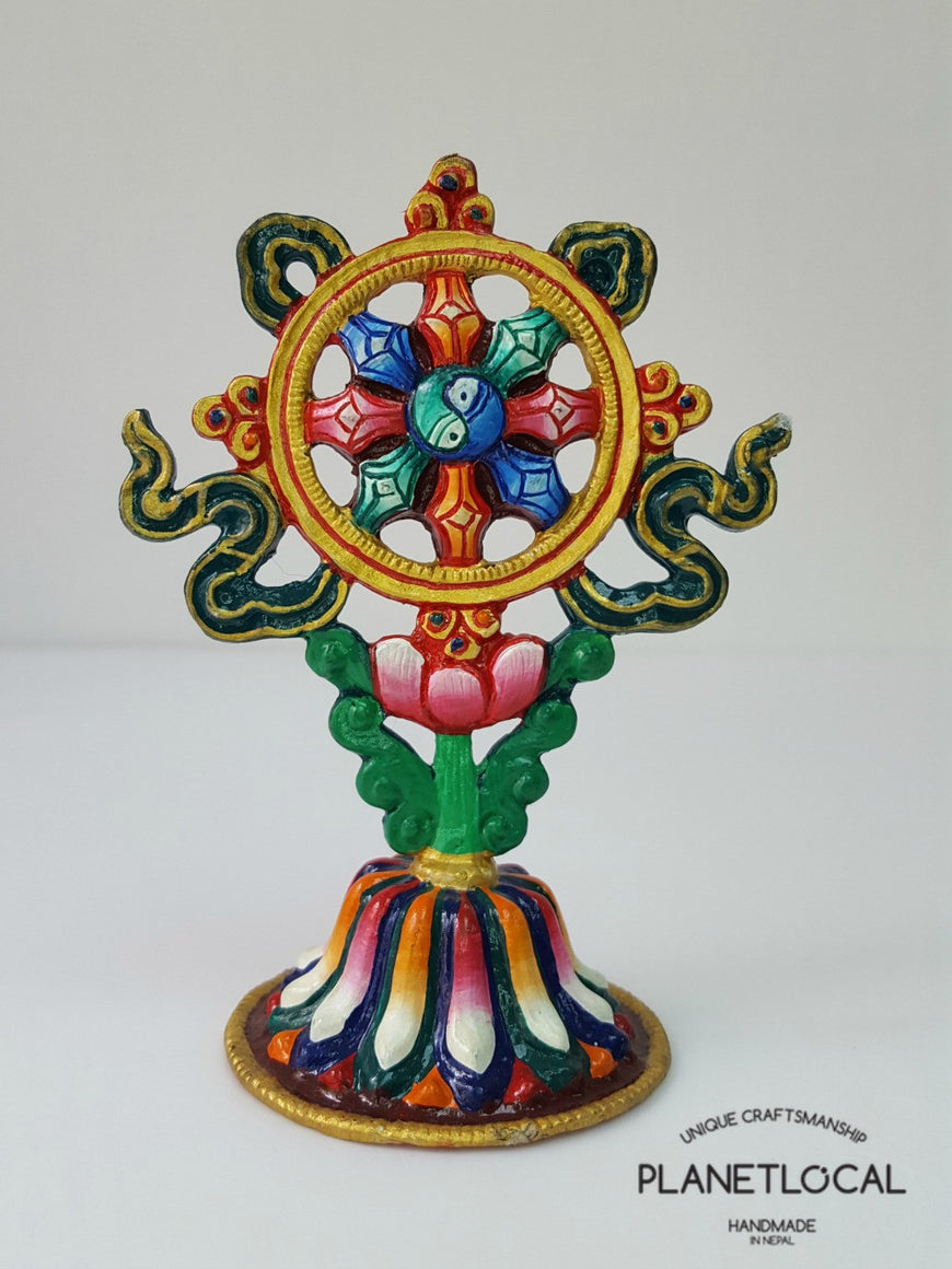 Handpainted Pure Copper 8 Auspicious Symbol Stand - PLANETLOCAL (4)