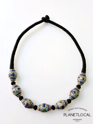 EYE BEADS- Hand wrapped pure cotton thread necklace - PLANETLOCAL