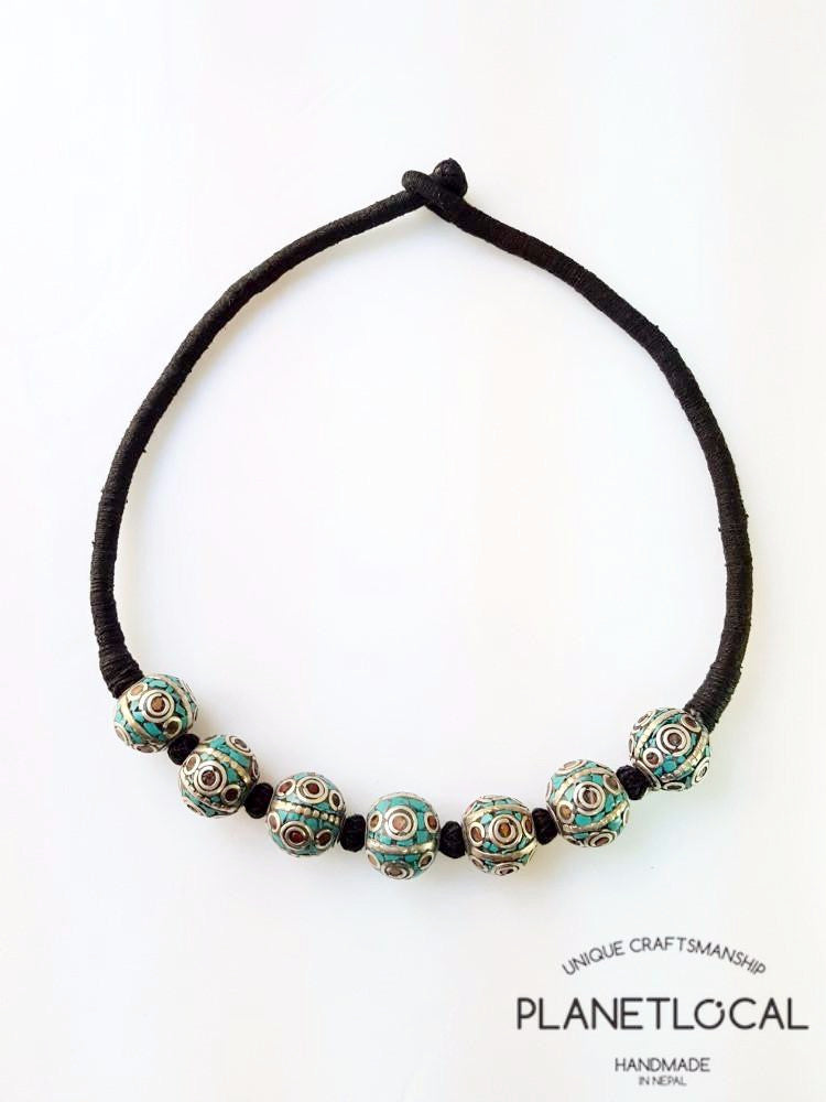 BALL BEADS- Hand wrapped pure cotton thread necklace - PLANETLOCAL