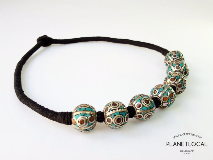 BALL BEADS- Hand wrapped pure cotton thread necklace - PLANETLOCAL (1)
