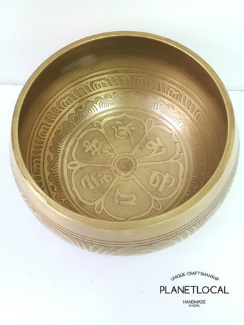 Compassion Mantra + Lines Etched Singing Bowl