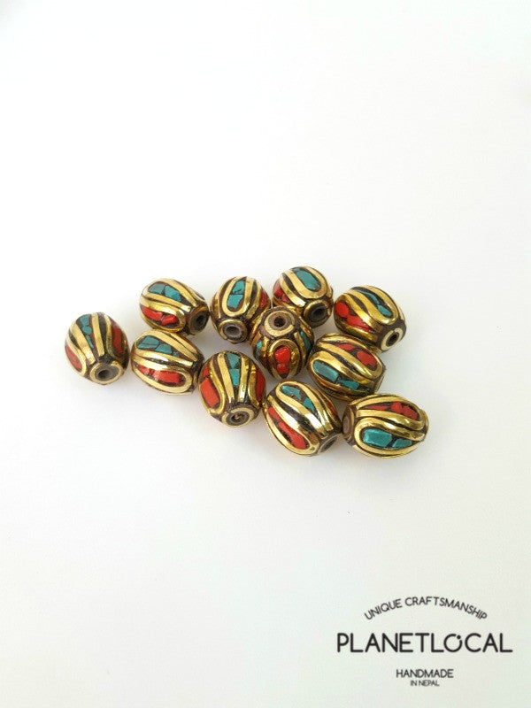 COLORS- 5pc Assorted Tibetan Brass Beads DIY Craft Supplies No.05 (2)