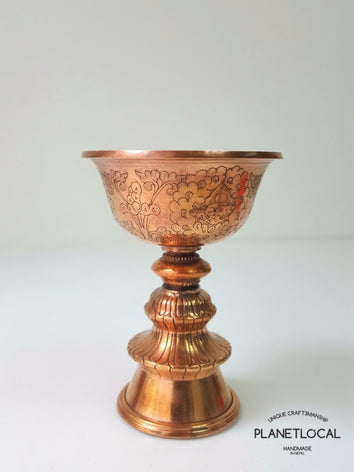 Handmade Pure Red Copper Butter Lamp