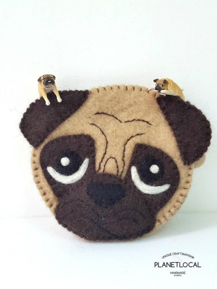 PUGGY- Cute Felt Small Money Purse