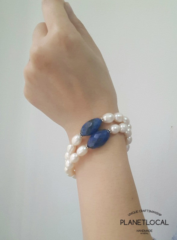 Special Edition Lapis Lazuli with Shell/Luster Natural Pearl Bracelet