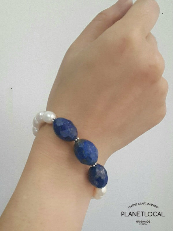 Special Edition Lapis Lazuli with Shell/Luster Natural Pearl Bracelet (4)