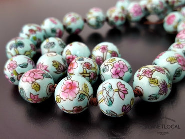 Limited edition 80s Handpainted Chinese Porcelain Beads