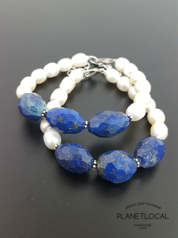 Special Edition Lapis Lazuli with Shell/Luster Natural Pearl Bracelet (5)