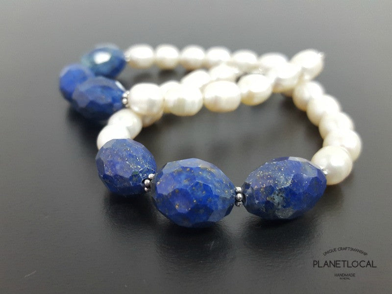 Special Edition Lapis Lazuli with Shell/Luster Natural Pearl Bracelet (6)