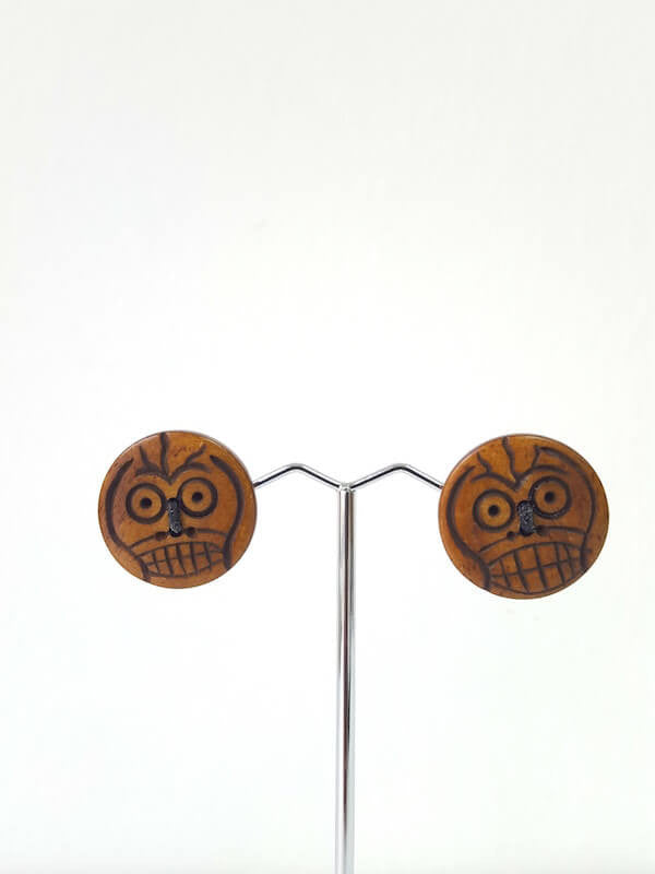 Handmade Sustainable Bone Button Earrings