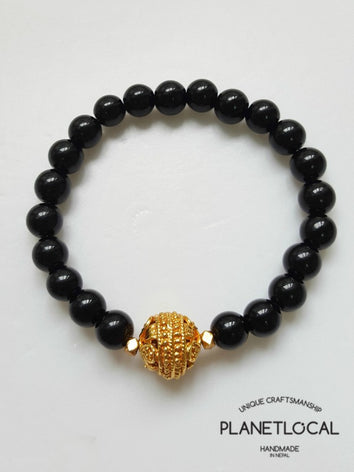 Minimalistic Agate/Lava Bracelet with repousse silver plated bead or gold plated copper beads