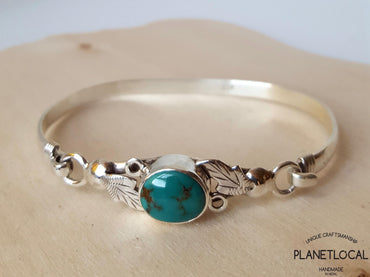 TORQUOISE LEAVES-Handmade 925 Sterling silver Torquoise Bangle - PLANETLOCAL