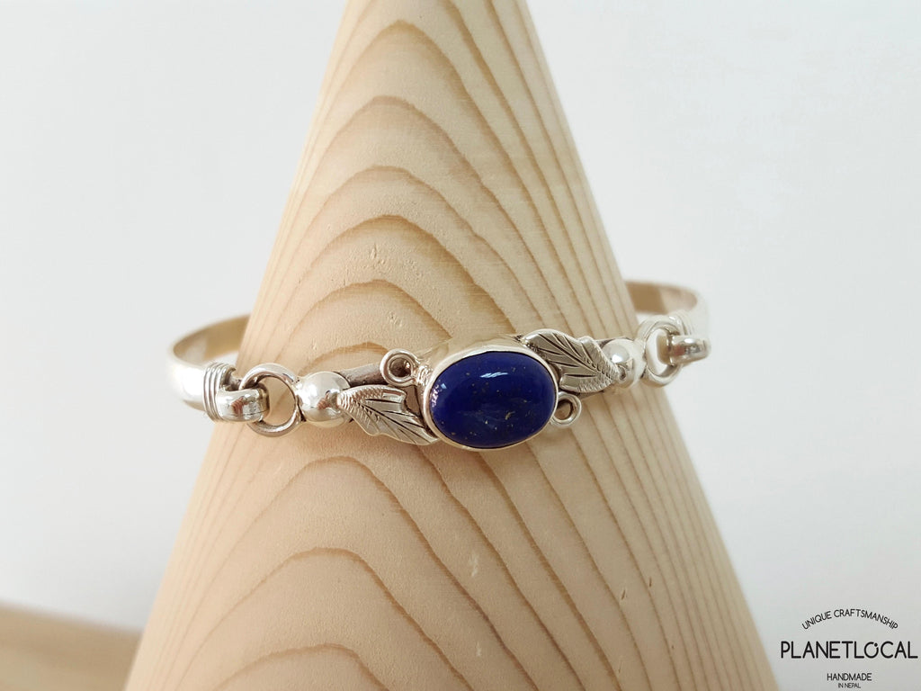 LAPIS LEAVES-Handmade 925 Sterling silver Torquoise Bangle - PLANETLOCAL