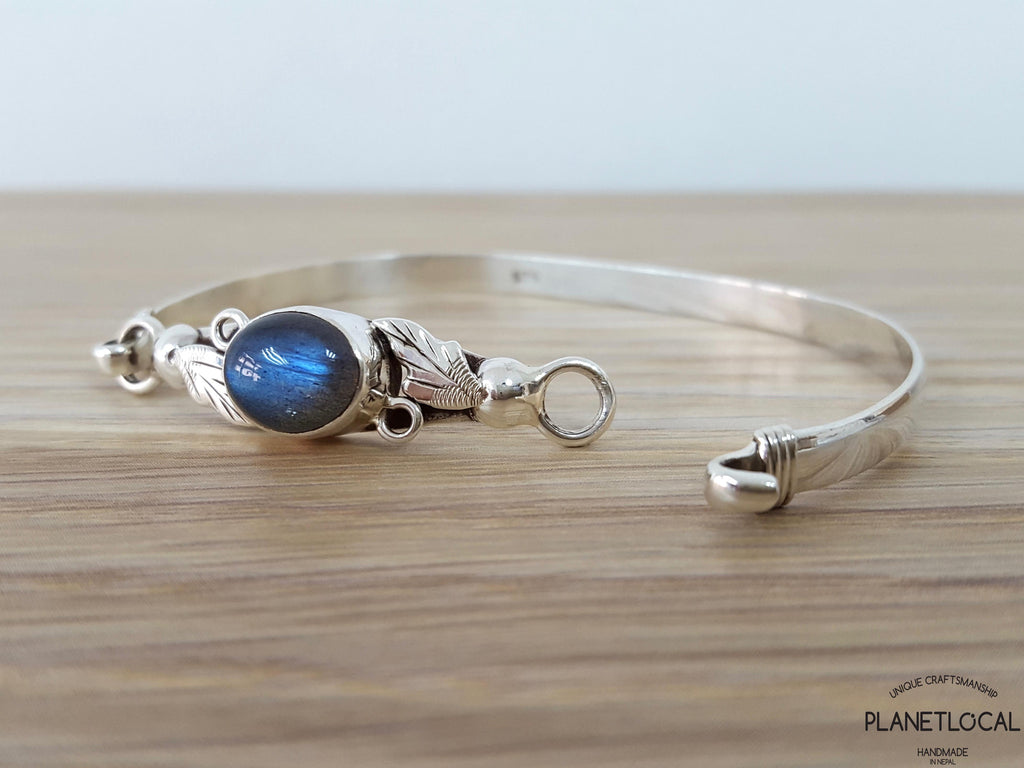 LABRADORITE LEAVES-Handmade 925 Sterling silver Torquoise Bangle - PLANETLOCAL