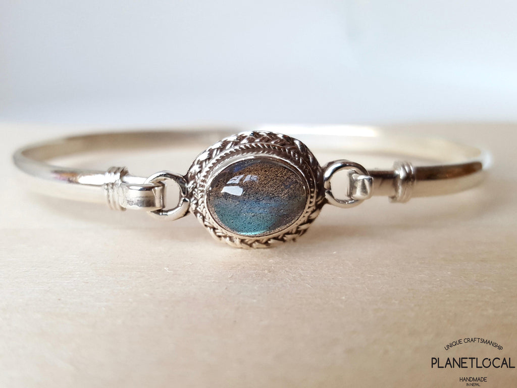 STATEMENT-Handmade 925 Sterling silver Labradorite & Moonstone Bangle - PLANETLOCAL