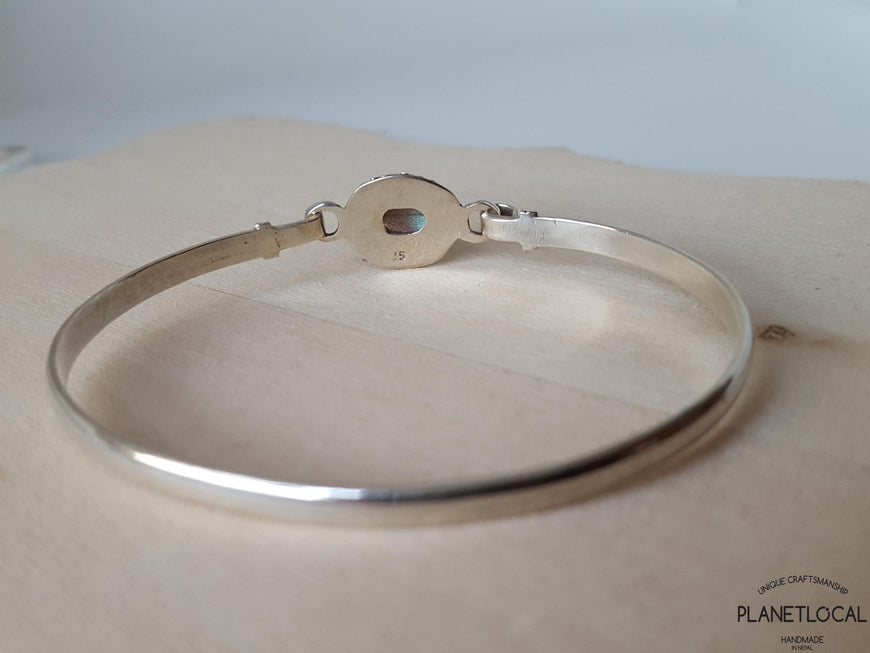 STATEMENT-Handmade 925 Sterling silver Labradorite & Moonstone Bangle - PLANETLOCAL (1)