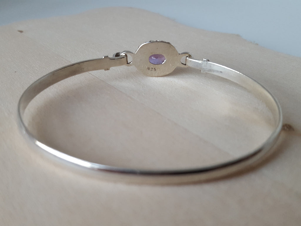 STATEMENT-Handmade 925 Sterling silver Amethyst & Golden Topaz Bangle - PLANETLOCAL