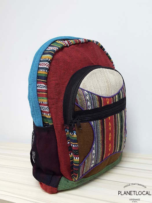 JILIMILI-2 Handmade colourful organic cotton and hemp backpack - PLANETLOCAL (1)
