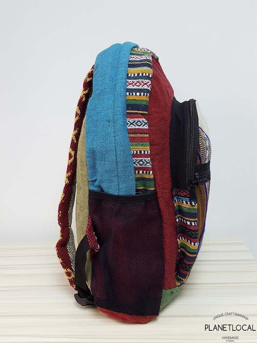 JILIMILI-2 Handmade colourful organic cotton and hemp backpack - PLANETLOCAL (2)
