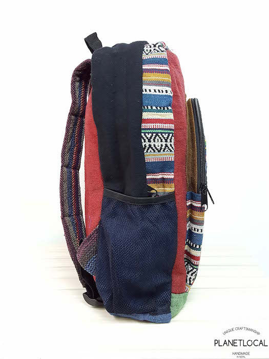 JILIMILI-2 Handmade colourful organic cotton and hemp backpack - PLANETLOCAL (7)