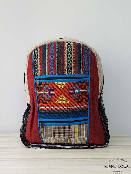 Jilimil-3 Handmade colourful organic cotton and hemp backpack - PLANETLOCAL (1)